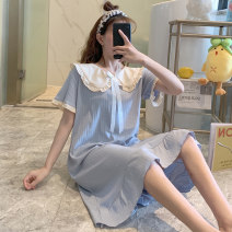 Nightdress Huizi family lovely Short sleeve longuette pajamas Solid color summer youth Crew neck cotton bow V5670# one hundred and sixty ( M ), one hundred and sixty-five ( L ), one hundred and seventy ( XL ), one hundred and seventy-five ( XXL ), A gift for the exclusive collection