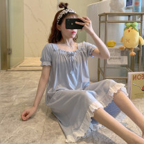 Nightdress Huizi family girl Short sleeve longuette pajamas Solid color summer youth square neck cotton printing W2001# one hundred and sixty ( M ), one hundred and sixty-five ( L ), one hundred and seventy ( XL ), one hundred and seventy-five ( XXL ), A gift for the exclusive collection