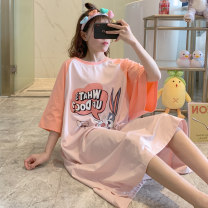 Nightdress Huizi family Korean version Short sleeve longuette Living clothes Cartoon animation summer youth Crew neck cotton printing 6907# Average size (recommended 85-150 Jin), exclusive real collection, small gift Nyl-6907 letter Bunny