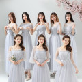 Dress / evening wear Wedding, adulthood, party, company annual meeting, show, date Average [78-108 Jin], large [109-132 Jin], extra large [135-165 Jin] Korean version longuette Elastic waist Winter 2020 Fluffy skirt One shoulder zipper Netting 18-25 years old New mesh elbow sleeve flower Solid color
