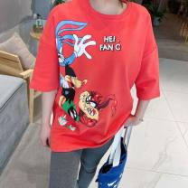 T-shirt Black, red, white, blue Average size Autumn 2020 Short sleeve Crew neck easy Medium length routine cotton 96% and above 25-29 years old other Cartoon animation Other / other AI50A45 printing