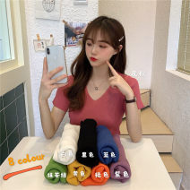 T-shirt Black, white, blue, yellow, purple, leather powder, Matcha green, orange Average size Summer 2020 Short sleeve V-neck Self cultivation routine other 51% (inclusive) - 70% (inclusive)