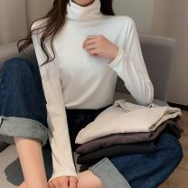 T-shirt Black, white, apricot, coffee Average size Winter 2020 Long sleeves High collar other 86% (inclusive) -95% (inclusive) Solid color Other / other