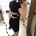 Dress Summer 2021 black Average size Short skirt singleton  Short sleeve commute Crew neck middle-waisted Solid color One pace skirt routine Others 18-24 years old Type X Korean version Open back, three-dimensional decoration 51% (inclusive) - 70% (inclusive) other cotton