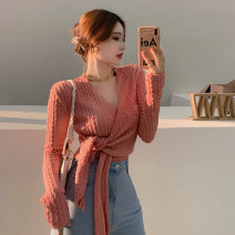 T-shirt Khaki, pink Average size Autumn 2020 Long sleeves V-neck Self cultivation have cash less than that is registered in the accounts routine commute other 30% and below 25-29 years old Korean version originality Solid color