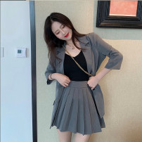 Fashion suit Autumn of 2019 S, M Black suit, apricot suit, grey suit, black pleated skirt, apricot pleated skirt, grey pleated skirt 18-25 years old Other / other