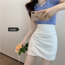 skirt Summer 2020 S, M Purple, white Short skirt commute High waist A-line skirt Solid color Type A 18-24 years old Korean version