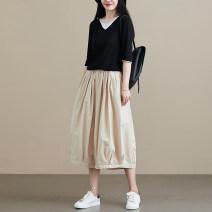 Casual pants Black, beige Summer 2020 Ninth pants Wide leg pants High waist commute literature