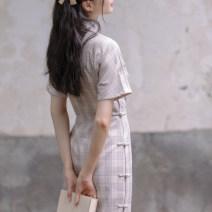 cheongsam Autumn 2020 XS,S,M,L Third batch of oatmeal grey Short sleeve daily lattice 18-25 years old Chuandai time