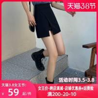 skirt Spring 2021 S,M,L,XL black Short skirt commute High waist A-line skirt Solid color Type A KZM202163 zipper