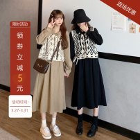 Women's large Spring 2021 Other oversize styles Two piece set commute easy moderate Socket Long sleeves Solid color Korean version other have cash less than that is registered in the accounts other Three dimensional cutting routine Other / other Bandage 71% (inclusive) - 80% (inclusive) Medium length