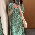 Dress Summer 2021 green Average size Mid length dress singleton  Short sleeve commute V-neck High waist Decor Princess Dress routine 18-24 years old Type X Retro