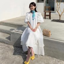 Dress Winter 2020 White, pink Average size Mid length dress singleton  Short sleeve commute Crew neck Loose waist Solid color Princess Dress 25-29 years old Type A Korean version