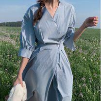 Dress Summer 2020 blue S, M Mid length dress singleton  Short sleeve commute V-neck High waist Solid color Princess Dress 18-24 years old Type X Korean version