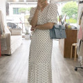 Dress Summer 2021 White, black Average size longuette singleton  Short sleeve commute V-neck Loose waist Dot other Ruffle Skirt routine 18-24 years old Type X Korean version printing