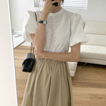 Fashion suit Summer 2021 Average size White shirt s, white shirt m, Khaki Skirt (elastic waist) 18-25 years old
