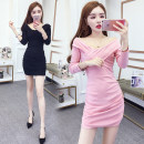 Dress Spring 2021 Black, pink S,M,L,XL Middle-skirt singleton  Long sleeves commute V-neck High waist Solid color zipper One pace skirt routine Others 25-29 years old Type A Korean version Panel, zipper 51% (inclusive) - 70% (inclusive) other polyester fiber