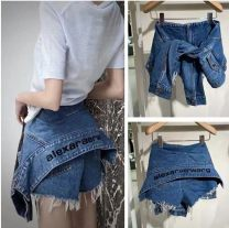 Jeans Summer 2020 S,M,L shorts High waist Wide legged trousers routine Cotton denim Dark color 96% and above