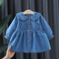 Dress blue female Other / other 66cm,73cm,80cm,85cm,90cm,95cm,100cm,105cm Cotton 95% polyurethane elastic fiber (spandex) 5% spring and autumn Korean version Long sleeves Solid color cotton Denim skirt 12 months, 6 months, 9 months, 18 months, 2 years, 3 years