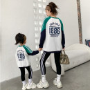 Parent child fashion White, gray, black Women's dress female Other / other Baby 90cm, baby 100cm, baby 110cm, baby 120cm, baby 130cm, baby 140cm, mother's average size (within 135kg) N2112 spring and autumn Korean version routine other suit cotton Average size N2112 Cotton 100% Class A