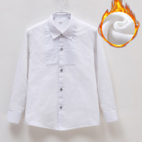 shirt White plush red blue Yi Nuo Fang neutral 100cm 110cm 120cm 130cm 140cm 150cm 160cm 170cm 180cm winter Long sleeves leisure time Solid color Cotton blended fabric Lapel and pointed collar Polyester 65% cotton 35% T003 Plush Class B Winter of 2019