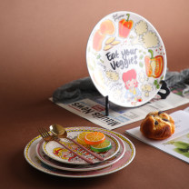 disc pottery Color in glaze European style Flat plate 8 inches 1 Cartoon animation Chinese Mainland