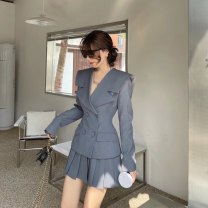 Dress Spring 2021 Gray, white, black S,M,L Middle-skirt Fake two pieces Long sleeves commute Admiral High waist Solid color double-breasted A-line skirt routine Others Type A Korean version fold 31% (inclusive) - 50% (inclusive) other other