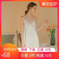 Nightdress SV · Nier / sivenier White, pink, violet, haze blue S,M,L,XL Sweet camisole pajamas Middle-skirt summer Solid color youth V-neck Polyester (polyester) lace More than 95% silk Xiweinier / white spinning suspender skirt 200g and below