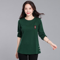 T-shirt Autumn of 2019 Long sleeves Crew neck easy Medium length routine commute cotton 96% and above 30-39 years old youth Solid color Other / other