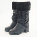 Boots black PU Other / other High heel (5-8cm) Thick heel top layer leather Middle cylinder Round head Artificial short plush Artificial short plush Winter of 2019 Side zipper Europe and America Composite bottom Solid color Tooling boots Adhesive shoes Artificial short plush Youth (18-40 years old)