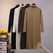 Dress Winter 2020 Average size (f) longuette singleton  Long sleeves commute High collar Loose waist Solid color Socket routine 25-29 years old Type H Yixueling yarn Korean version thread 51% (inclusive) - 70% (inclusive) other other