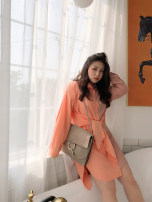 Women's large Spring 2020 Green, orange Dress singleton  commute easy moderate Cardigan Long sleeves Solid color Korean version Polo collar Medium length other Three dimensional cutting routine Other / other 18-24 years old Bandage Medium length Irregular skirt