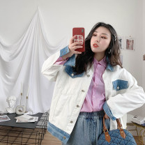 Women's large Spring 2020 Black, white Large L (about 130-175 Jin recommended), large XL (about 175-205 Jin recommended) Jacket / jacket singleton  commute easy moderate Cardigan Long sleeves Solid color, others Korean version Polo collar routine Denim Hand abrasion routine Other / other pocket