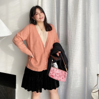 Women's large Spring 2021 Large L (about 120-165 kg recommended), large XL (about 165-200 kg recommended) Knitwear / cardigan singleton  commute easy moderate Cardigan Long sleeves Solid color, others Korean version V-neck routine other Three dimensional cutting routine Other / other 25-29 years old