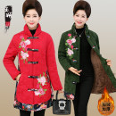 Middle aged and old women's wear Winter 2019, autumn 2019, winter 2020, autumn 2020 Black, red, dark green XL,XXL,3XL,4XL,5XL ethnic style Cotton easy singleton  Big flower 50-59 years old Cardigan thickening stand collar Medium length routine yy13-19-22-68-45 Other / other Embroidery Cotton and hemp