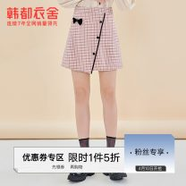 skirt Spring 2021 S M L Check pattern Short skirt High waist A-line skirt lattice Type A 18-24 years old 81% (inclusive) - 90% (inclusive) Hstyle / handu clothing house polyester fiber Bow button