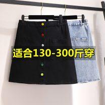 skirt Spring 2021 2XL,3XL,4XL,5XL,6XL Blue, black, black grey Short skirt Versatile High waist skirt Solid color Type A 25-29 years old 71% (inclusive) - 80% (inclusive) Denim Other / other polyester fiber Pocket, button