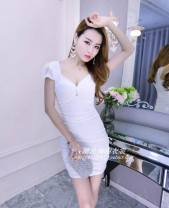 Dress Summer 2017 White, black, rose, pink, red, yellow, blue S,M,L,XL Short skirt singleton  Short sleeve commute V-neck middle-waisted Solid color Pencil skirt routine Others Hollowed out, pleated, open back, pleated, stitched, nailed bead, gauze net