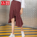 skirt Autumn of 2019 S M L XL Jujube red longuette commute Natural waist other lattice Type A 18-24 years old K8PB5980 More than 95% Fashion front cotton Korean version Cotton 100% Pure e-commerce (online only)
