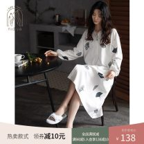 Nightdress Nidia white S M L XL Simplicity Long sleeves Leisure home Middle-skirt spring Plants and flowers youth Small lapel cotton printing More than 95% pure cotton 200g Autumn 2020 Cotton 100% Pure e-commerce (online only)