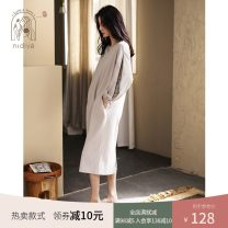 Nightdress Nidia Light grey S M L XL Simplicity Long sleeves Leisure home longuette spring Solid color youth V-neck cotton printing More than 95% pure cotton TF21151 200g and below Spring 2021 Cotton 100% Pure e-commerce (online only)