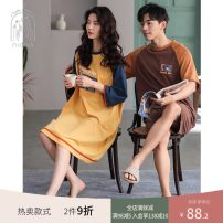 Pajamas / housewear set lovers Nidia S M L XL XXL Women's lf20290 bright yellow men's lm20290 Brown cotton Short sleeve Cartoon Leisure home summer Thin money Crew neck Cartoon animation shorts Socket youth rubber string More than 95% pure cotton printing LF20290 200g and below Cotton 100%