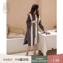 Nightdress Nidia pale S M L XL Simplicity Long sleeves Leisure home Middle-skirt spring stripe youth Shirt collar cotton Mosaic decoration More than 95% pure cotton 200g Spring 2021 Cotton 100% Pure e-commerce (online only)