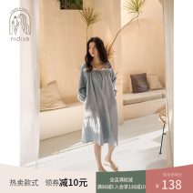 Nightdress Nidia Gray orchid S M L XL Sweet Long sleeves Leisure home Middle-skirt spring Solid color youth square neck cotton lace More than 95% pure cotton XF21144 200g and below Spring 2021 Cotton 100% Pure e-commerce (online only)