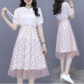 Dress Summer 2021 Picture color S,M,L,XL Mid length dress Two piece set Short sleeve Sweet Polo collar High waist Dot Single breasted A-line skirt routine 18-24 years old Type A 71% (inclusive) - 80% (inclusive) Chiffon polyester fiber princess