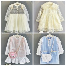 Dress female Other / other Other 100% spring and autumn princess Long sleeves Dot cotton A-line skirt Class B 18 months, 2 years old, 3 years old, 4 years old, 5 years old, 6 years old, 7 years old, 8 years old