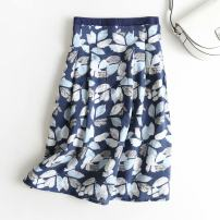 skirt Summer of 2019 S,M,L Dark blue, light blue longuette street A-line skirt Decor 25-29 years old 51% (inclusive) - 70% (inclusive) other polyester fiber printing Europe and America