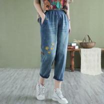 Jeans Spring 2021 blue M,L,XL Cropped Trousers High waist Haren pants routine Embroidery, washing Cotton elastic denim light colour