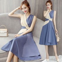 Dress Spring 2021 blue S,M,L,2XL,XL Mid length dress singleton  Sleeveless commute V-neck High waist other Socket Big swing other Others 25-29 years old Type A Korean version Splicing, bandage More than 95% other other