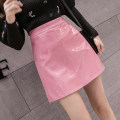 skirt Spring 2021 S,M,L,XL,2XL Black, blue, apricot, red, pink Short skirt commute High waist A-line skirt Solid color Type A 18-24 years old 555Wei Korean version